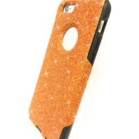 Custom iPhone 6 (4.7 inch) Glitter Otterbox Commuter Cute Case,  Custom  Glitter Orange / Black Otterbox Color Cover for iPhone 6