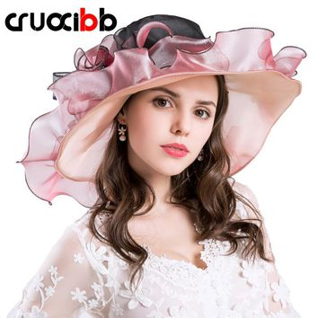 CRUOXIBB 2017 Fashion Women's Brim Wedding Dress Church Hats Design Flower Yarn Hat Summer For Women Chapeau Femme Sun Beach Hat