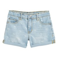 Peek Griffin Palm Tree Denim Shorts (Toddler Girls, Little Girls & Big Girls) | Nordstrom