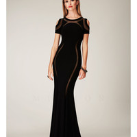 (PRE-ORDER) Mignon Spring 2014 Dresses - Black Illusion Cut Out Long Prom Dress