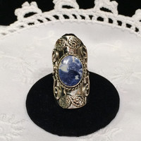 Vintage hippie boho ring jewelry Lapis Lazuli Ring SALE
