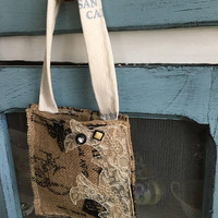 Burlap door hanger herb basket/ rustic herb basket/ door hangers