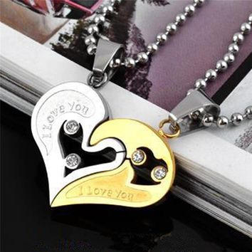BOAKO Couple Stainless Steel Necklace Men Chain Heart Together Love Necklaces for Lover Fashion Paired Suspension Pendants Z4