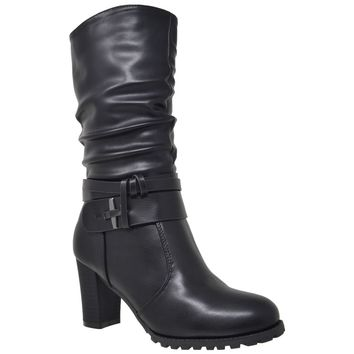 Women's Mid Calf Boots Stacked Block Heels Black