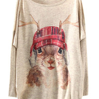 Beige Cute Antlers Squirrel Print Bat Sleeve Sweater