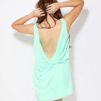 LOVE Mint Sleeveless Drape Back Dress