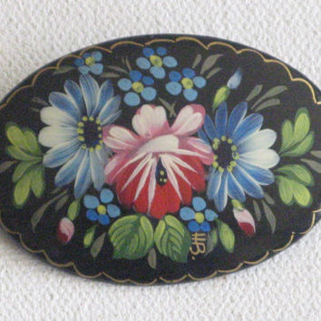 Vintage Folk Art Hand Painted Lacquer Brooch Russian