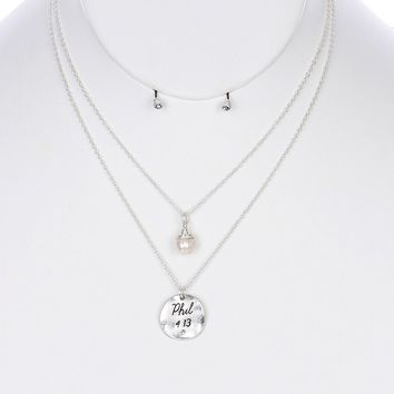 Cream Hammered Metal Scripture Pendant Necklace And Earring Set
