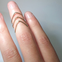 Above the knuckle Single Brass Chevron Knuckle Ring- Single