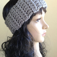 Crochet Ear Warmer- Gray - Fits Adult/Teen/Women
