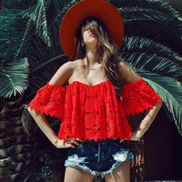 Women's Fashion Summer Hot Sale Sexy Lace Hollow Out Tops [9430661252]