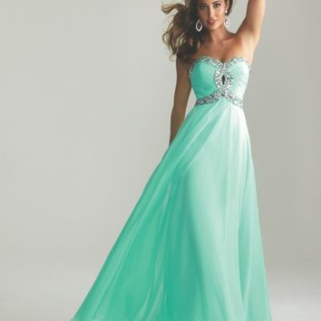 Nightmoves by Allure 2013 Prom-Aqua Chiffon Beaded Key Hole Sweetheart Prom Dress - Unique Vintage - Prom dresses, retro dresses, retro swimsuits.