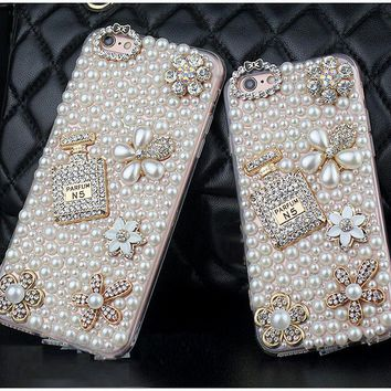 Dower Me Diamond Pearl Flower Perfume Bottle Case For Iphone X 8 5f77bb165968