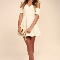 Ever So Enticing Beige Skater Dress