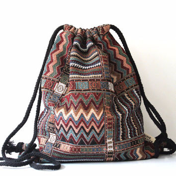 Aztec Folk Tribal Drawstring Backpack