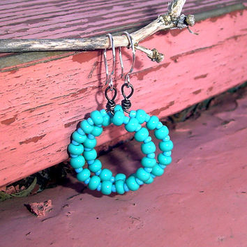 Turquoise Hoop Earrings Turquoise Glass Beaded by BrandonArtists