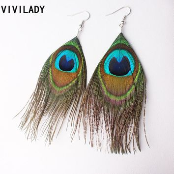 VIVILADY Fashion Jewelry Lowest Price Peacock Feather Hook Earrings Women Femme Female Bijoux Accessory Birthday Mother Day Gift
