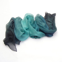 Blue-green tango ombre dyed silk scarf,  Blue-green scarf, Ombre dyed scarf, Ombre silk scarf, Colors trend, Bridesmaid gifts