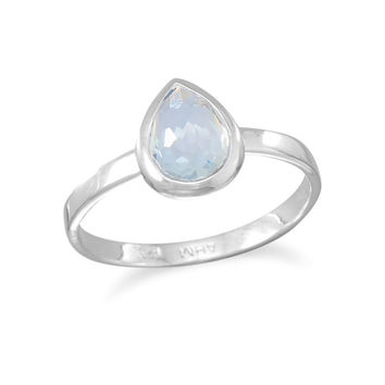 Small Freeform Faceted Blue Quartz Hydro Pear Shape Stackable Ring in Sterling Silver