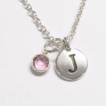Choose Birthstone Initial Letter Personalized Gift Friend Sister Mom Necklace