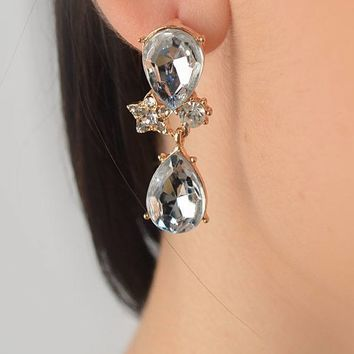 "2"" Long Clear Double Teardrop Earrings"