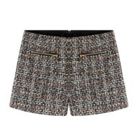 Block Zippered Pocket Knitted Shorts