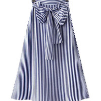 A-line Striped Dress with Bow Tie