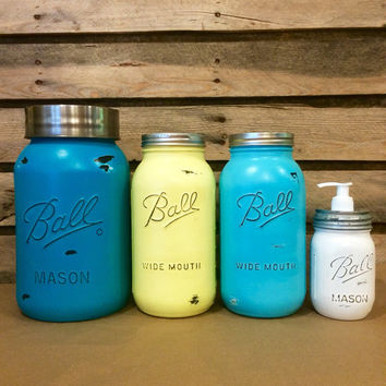 Mason Jar Canister Set, Rustic Turquoise Mason jars, Turquoise and Yellow Mason Jar Set, Mason Jar Kitchen Decor, Turquoise Ombre Mason Jars