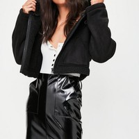 Missguided - Black Premium Cropped Faux Shearling Hoodie