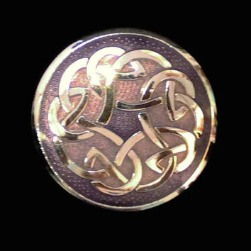 Celtic Knot Enamel Brooch In Purple With Silver Tone Metal, Signed Celtic Sea Gems
