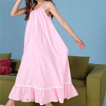 Cotton Sleep Lounge Women Sleepwear Long Nightgowns Sexy Indoor Clothing Maxi Home Dress Chemise Nightdress White Pink