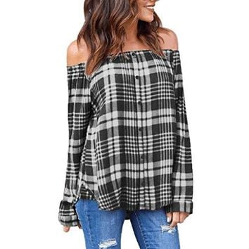 TOOPOOT 2018 New Blouse,Elegant Off Shoulder Plaid Long Sleeve Crop Tops Casual Single-Breasted Blouses
