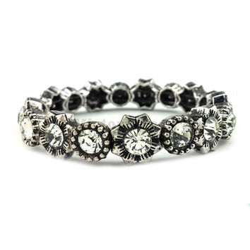 Antique Silver Color  Flower Charm Crystal  Tibetan Vintage Stretch Bracelet Jewelry