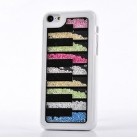 Mocase for iPhone 5C Fashion Chic Sand Art Cute Crystal Hard Shell Back Cover Case for Apple iPhone 5C (Colorful Crystal for 5C, White+Strawberry)