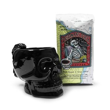 Skull Mug and Deadman's Reach Coffee Gift Set (Black)