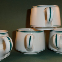 Diner Coffee Cups, Green Bands, Set of Four, Shenango China, More Available