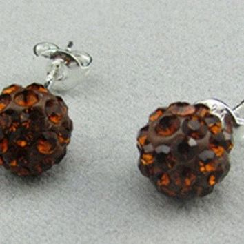 DCCKIX3 New Fashion Jewelry Diamante Sparkly Brown Crystal Rhinestone Disco Clay Ball Bling Silver Ear Stud Mini Earrings for Bride Wedding Party Birthday Gift (Size: 8 mm, Color: Brown)