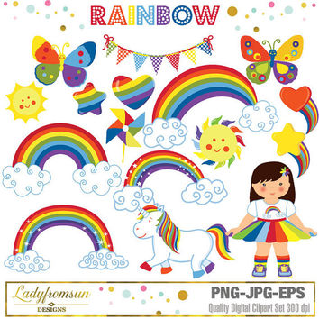 Rainbow Clipart, Rainbow Graphics, unicorn, rainbow girl, heart, cloud , pinwheel, star clip art, vector graphic, Commercial-Personal Use