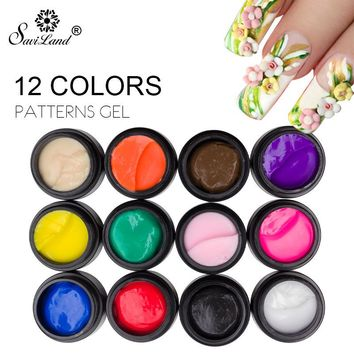 Saviland DIY Design Modelling Gel Nail Gel Polish Soak Off Nail Gel Varnish 3D Carved Patterns Gel Sculpture Decoration