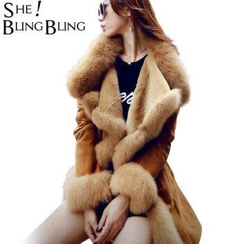 SheBlingBling Winter Warm Women Coats  Fashion Faux Fur Solid Color Large Lapel Long Sleeve Overcoat Women Casual Jackets