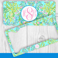 Aqua Teal Ocean Pastel Monogram License Plate Frame Holder Metal Wall Sign Tags Personalized Custom Vanity Country Girl