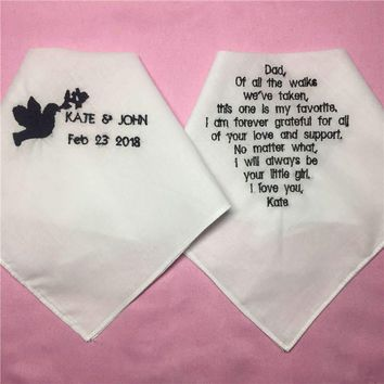 1 Set/ 2pcs Wedding Handkerchiefs for Parents of the Bride and Groom, Embroidered Wedding Napkin and Hankie with Saying
