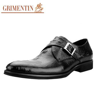 GRIMENTIN Mens Formal Shoes Monk Strap Classic Italian Crocodile Pattern Genuine Leather Shoes Black Burgundy Buckle Men Flats