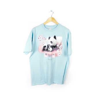 baby panda shirt / chinese national zoo animal / cherry blossoms / baby blue & pink / large