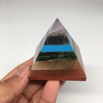 "148.9grams ,2""x2"" Large 7 Chakra Stones Bonded Crystals Pyramid @India,ST25"