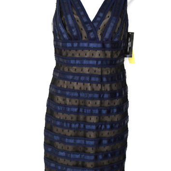 Navy Blue Midnite Sheer Mesh Striped Cocktail Dress   Beaded (Carmen Marc Valvo)