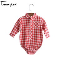 Teenster Baby Bodysuit  Newborn Twins Clothes Style Autumn Long Sleeve Plaid Fashion Girls Boys Bodysuits 6 9 12 18 24 M