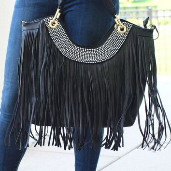 Rhinestone Scoop & Fringe Purse