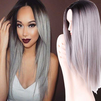 "Grey Ombre Wig False Hair Synthetic Wigs for Black Women 26"" Long Straight Natural jenner Gray Wig Female Hair"