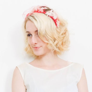 50s vintage fascinator / Red floral hat / 1950s mid century flower crown / Walter Magnus 50s headband faux fur
